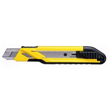 STANLEY Nóż 18 mm Standard z magazynkiem , metalowy, uchwyt z ABS, ostrze łamane 18mm - karta