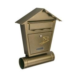 METRO Skrzynka na listy domek z tubą, B5, antyk złoty