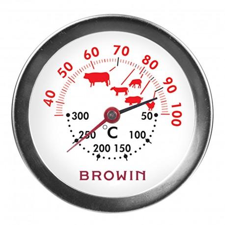 BROWIN 2w1 Termometr do pieczenia i piek arnika - Podwójna skala do pieczenia (30°C do + 100°C) i piekarnika (+50°C +300°C)