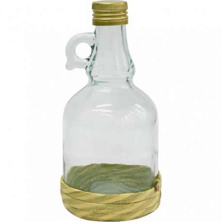 BROWIN butelka Gallone w oplocie ze sznu rka z trawy, z uszkiem i zakrętką pojemność 0,5Lt