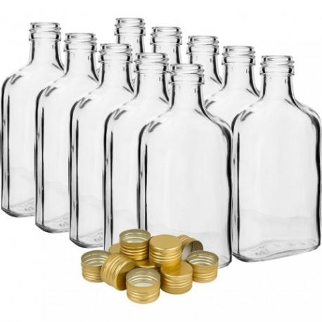 BROWIN Butelka na nalewki piersiówka z z akrętkami 200ml - 10 szt.