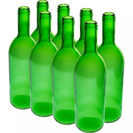 BROWIN Butelka na wino 0,75 l - zgrzewka 8szt. - zielona