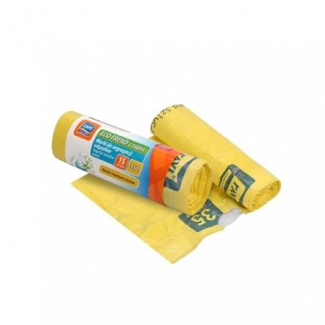 RAVI Worki Eco Trend z taśmą 35L,15 szt. żółte (plastiki)