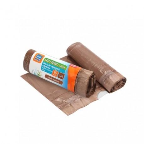 RAVI Worki Eco Trend z taśmą 35L, 15 szt. brązowe (odpady organiczne)