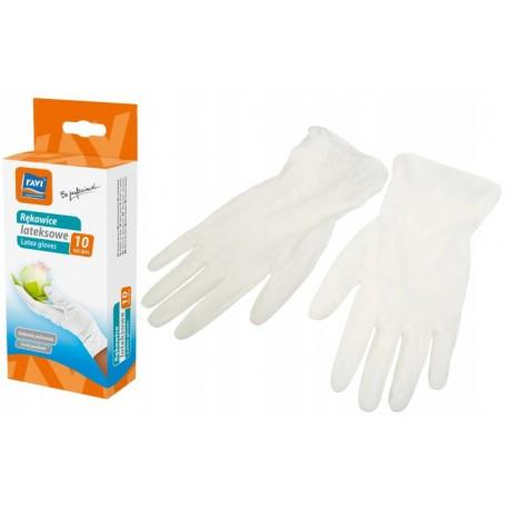 RAVI Rękawice lateksowe 10 szt. L białe