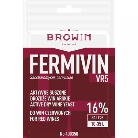 BROWIN Aktywne, suszone drożdże winiarsk ie do szlachetnych win czerwonych FERMICRU VR5 (bez namnażania)