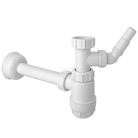 """McALPINE Syfon umywalkowy butelkowy """"nis ki"""" 11/4""""x32mm z podłącz.pralki lub zmywarki bez spustu"""