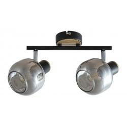 LAMPA SPOT SUFITOWY SALAZAR E14/ 2X40W CZARNY DĄB SZKŁO DYMNE