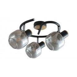 LAMPA SPOT SUFITOWY SALAZAR E14 3X40W CZARNY DĄB SZKŁO DYMNE