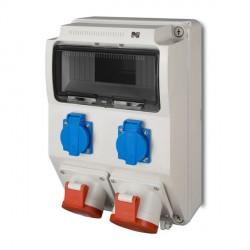 ELEKTRO-PLAST Rozdzielnia siłowa natynkowa 9-modułów 2x2P+Z, 3P+N+Z 16A, 3P+N+Z 32A SZARA