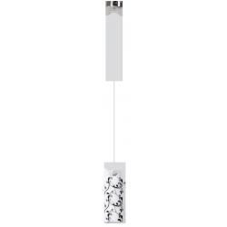 Lampa wisząca Blossom, E27, 1x 60W, chrom-satyna, klosz opalizowany, RABALUX 6394