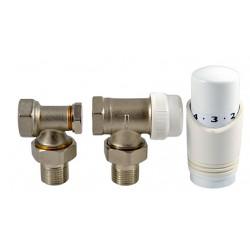INVENA KOMPLET TERMOSTATYCZNY KĄTOWY - głowica, zawór termostatyczny, zawór powrotny