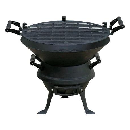 FLORALAND Grill beczkowy z żeliwnym rusz tem, (śr. 35,5 cm), wyposażenie: regulacja wysokości rusztu, wysokość 38 cm.