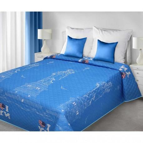 Narzuta LETTERS 170x210cm niebieska EUROFIRANY