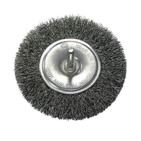 Szczotka tarczowa 100mm z drutu falowanego z trzpieniem 6mm Proline PROFIX 32430