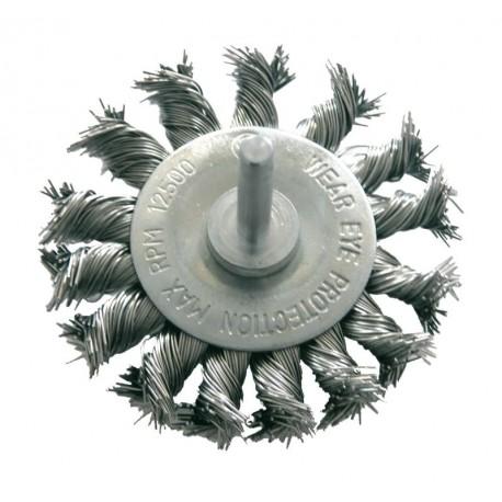 Szczotka tarczowa 75mm z drutu skręcanego z trzpieniem 6mm Proline PROFIX 32447